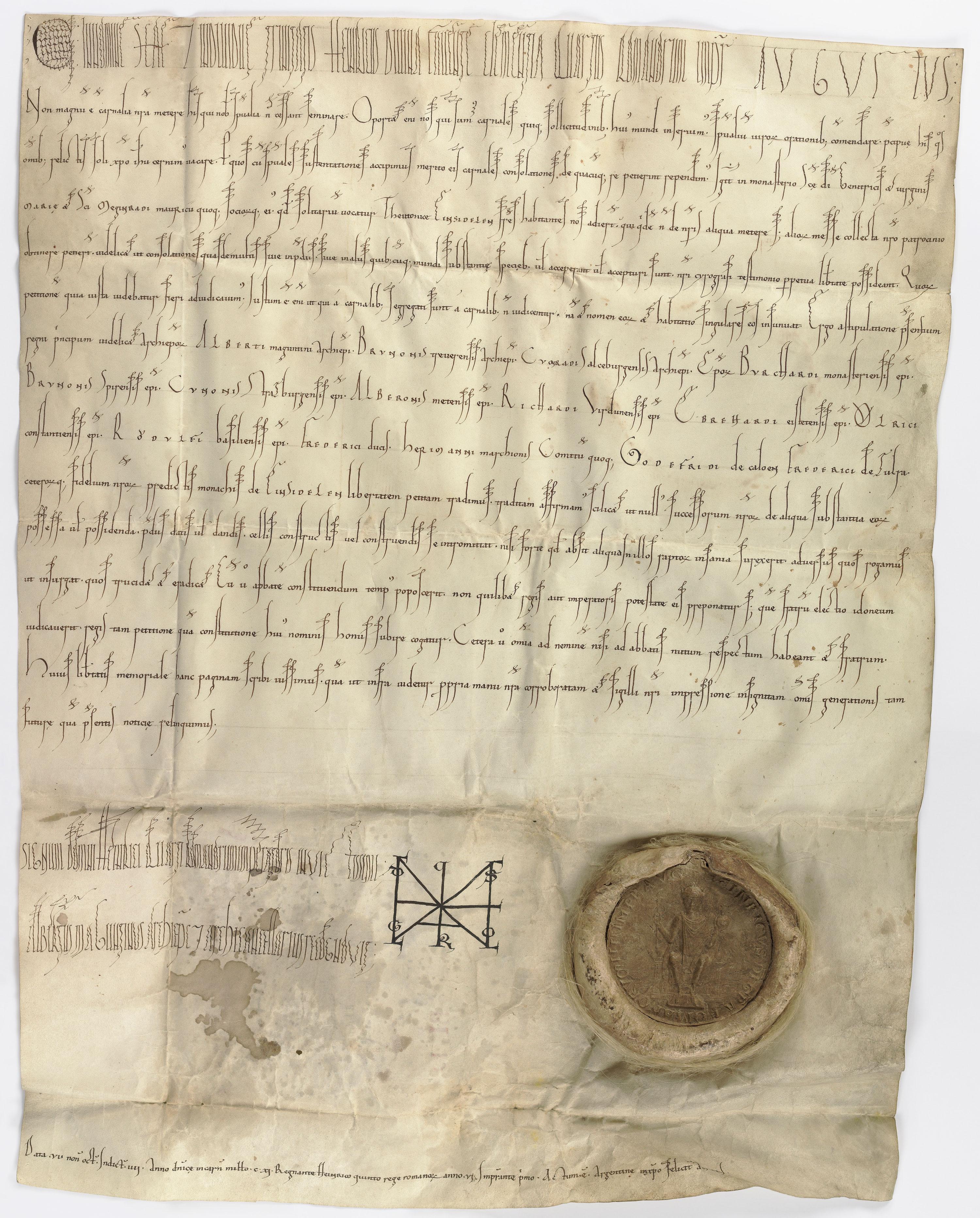 Diplôme de l'empereur Henri V pour Einsiedeln en 1111